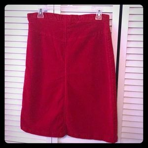 White Moon red Corduroy A line skirt